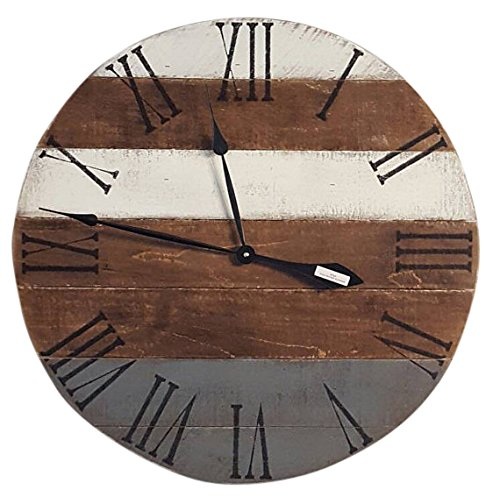 Gray and White Farmhouse Wood Clock