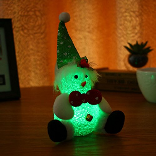 Iusun Christmas Icy Crystal Multicolor Snowman LED Night Light Home Table Decor Kids Gift (B)