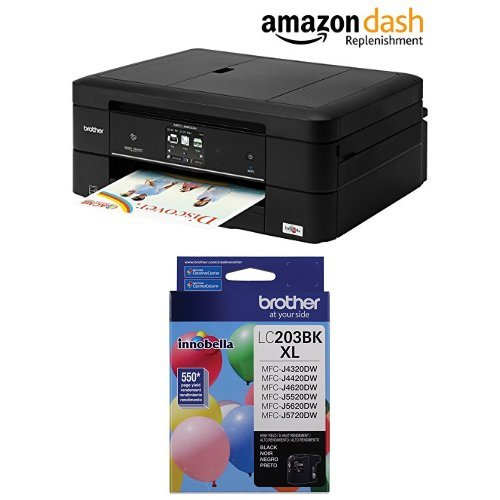 Brother WorkSmart MFC-J880DW Compact All-in-One Inkjet Printer, Amazon Dash Replenishment Enabled and Brother Printer LC203BK High Yield Ink Cartridge, Black Bundle by Brother