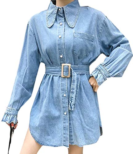Hajotrawa Women Belt Button-Down Beaded Shirt Lapel Jean Denim Jacket Coat Blue One Size