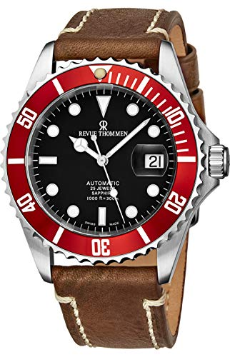 Revue Thommen Mens Automatic Diver Watch - 42mm Analog Black Face with Luminous Hands, Magnified Date and Sapphire Crystal - Red Diving Bezel Swiss Made Waterproof Dive Watch 17571.2536