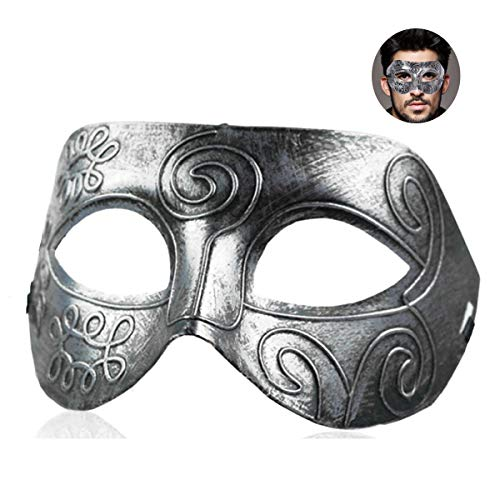 7Queen Masks Masquerade Ball Men Silver Boys Half Face Vintage Antique Cool Fighter Party Mask Pack Halloween Cos -