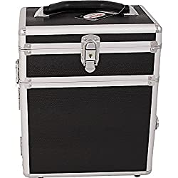SUNRISE Jewelry Storage Organizer Case C3010 2 in 1 Travel Box, Trays and Drawer, Locking with Mirror, Black Snake