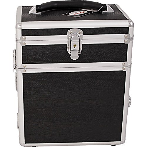 SUNRISE Jewelry Storage Organizer Case C3010 2 in 1 Travel Box, Trays and Drawer, Locking with Mirror, Black Snake