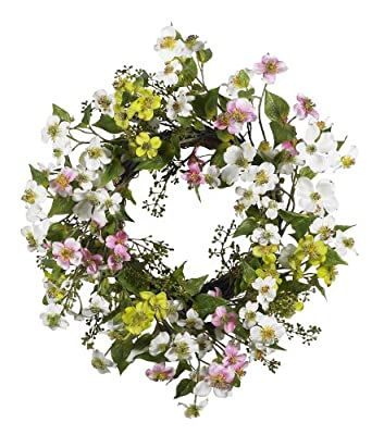 Nearly Natural 4688 Dogwood Wreath, 20-Inch, Assorted