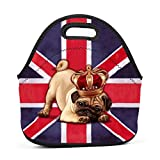 Britain Flag Dog Pug Lunch Bag Bento Pouch Lunchbox Portable Baby Bag Multifunctional Satchel Handbag for Outdoor Tour School Office Picnic