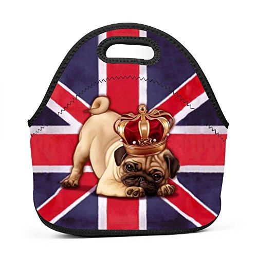 Britain Flag Dog Pug Lunch Bag Bento Pouch Lunchbox Portable Baby Bag Multifunctional Satchel Handbag for Outdoor Tour School Office Picnic by SeLub