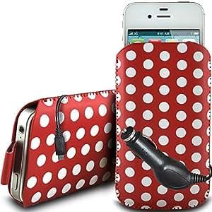 N4U Online - HTC Desire 500 protectora de la PU de la cremallera de diseño Polka de cuero antideslizante cable de tracción en bolsa de la caja con cierre rápido y CE Cargador de coche - rojo