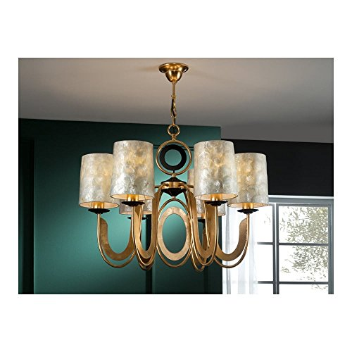 Schuller Spain 716620I4L Traditional Gold Ceiling Chandelier shade pendant light black 6 Light Dining Room, Living Room LED | ideas4lighting by Schuller