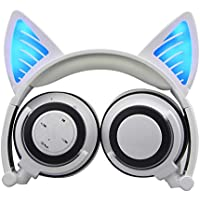 Wireless Bluetooth Cat Ear Headphones with Glowing Lights ( White )