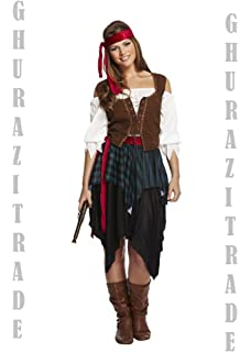 993b68ddf71cc Adult Ladies Men's Caribbean Pirate Swashbuckler Buccaneer Fancy Dress  Costume (Women: 10-14