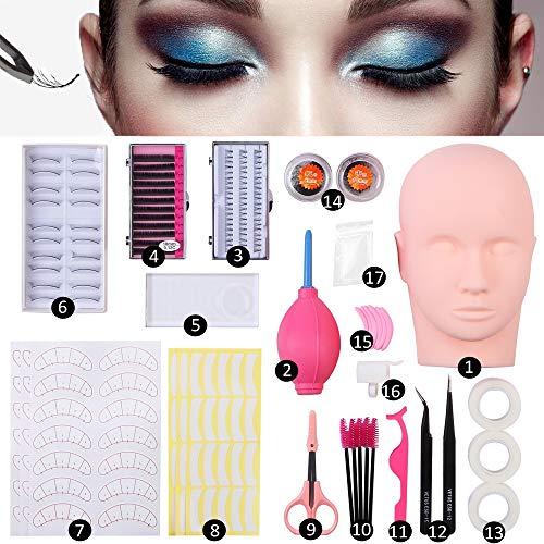 Mannequin Training Head False Eyelashes Extension Practice Set Make Up Eye Lashes Train Model Graft Kits for Professionals & Beginners