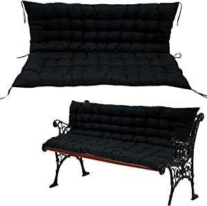 Garden Bench Cushion , Indoor Outdoor 2 Seater Patio Bench Pad Cushion Thick Bench Mat Replacement Covers Soft Chaise Swing Chair Cushion, Black (No Chair)