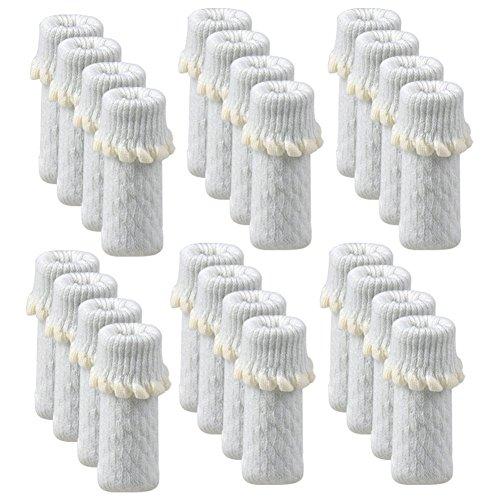- TEKEFT 24pcs/Pack Chair Protectors,Furniture Protectors with Non Slip Strips Inside Chair Leg Floor Protectors,Anti Skid Chair Socks for Hardwood Floors (White)