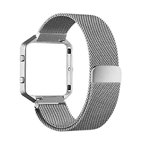 Fashion Clearance! Noopvan Fitbit Blaze Strap,Milanese Loop Stailess Steel Bracelet Strap with Metal Frame Smart Fitness Watch, Fitbit Blaze Replacement Band with Unique Magnet Lock (Silver) by Noopvan Strap (Image #1)
