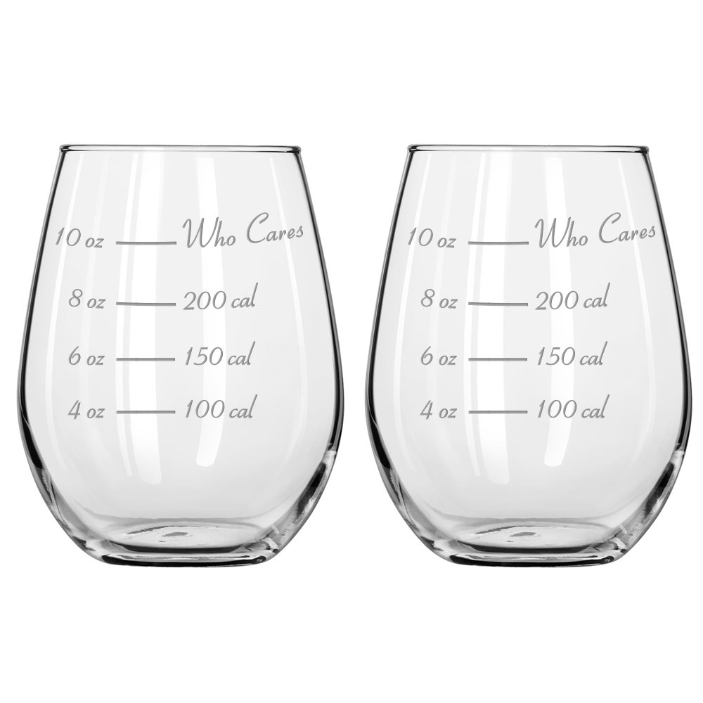 Caloric Cuvee - The Calorie Counting Wine Glass NOW IN STEMLESS (Set of 2)