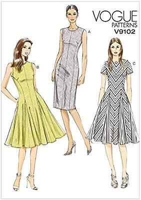Vogue Patterns V9197E50 Misses Jewel-Neck 14-16-18-20-22 Gathered-Skirt Dresses Red