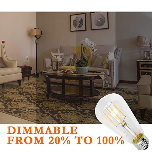 ST64// ST58 Clear Glass Antique Edison Style Light Bulbs 500 Lumens E26 Medium Screw Base Mastery Mart Vintage LED Filament Bulb Dimmable 5.5W 50W Equivalent 6 Pack 2700K Soft White