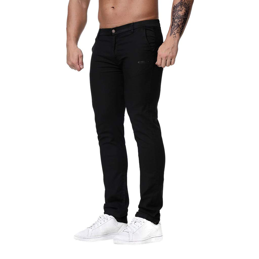 Palarn Casual Athletic Cargo Pants Clothes, Fashion Men's Regular Fit Solid Color Pants Casual Trousers Work Pants Black