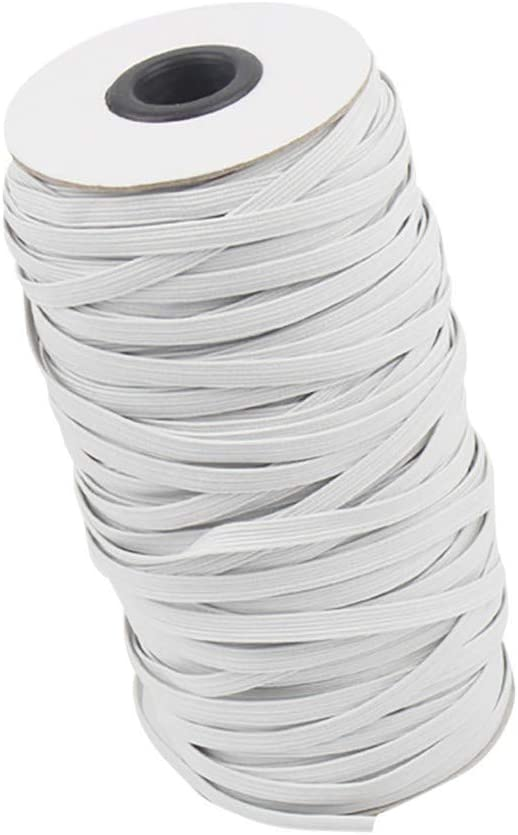 ZURQV Classic Black and White Sewing Handmade Roll Elastic Extension Strap Cord Crafts 1//4 Inch Width 10.9Yards Length