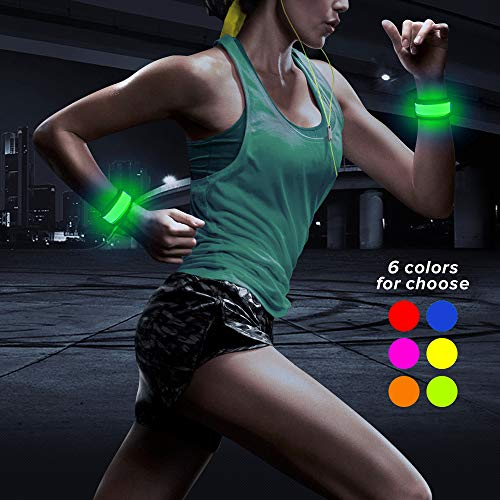 Higo LED Armband, Light Up Sports Safety LED Slap Bracelets, Party Favor Glowing Event Wristabnds for Running, Cycling, Jogging, Hiking(Green 35cm)