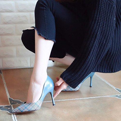 Chaussures Chaussures Chaussures Spring Léger À Faible Faible Talons ZHUDJ Unique Talons Couture Blue Hauts P5FwYA
