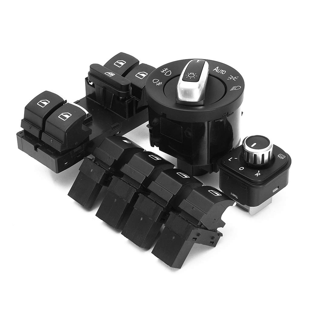Aulley 7PCS/Set Plastic Headlamp Window Mirror Fuel Gas Switch Replacement for GTI MK5 MK6 Jetta Passat