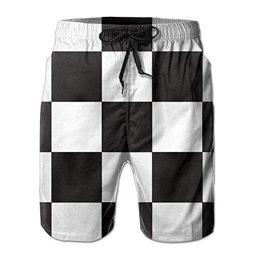 Tee Bain Pour / Garçons Occasionnels Séchage Rapide Magasin De Checker Chemise De Motif Blanc Noir Hommes Costumes Pantalons Élastiques Plage De Taille Avec Des Poches Blanches