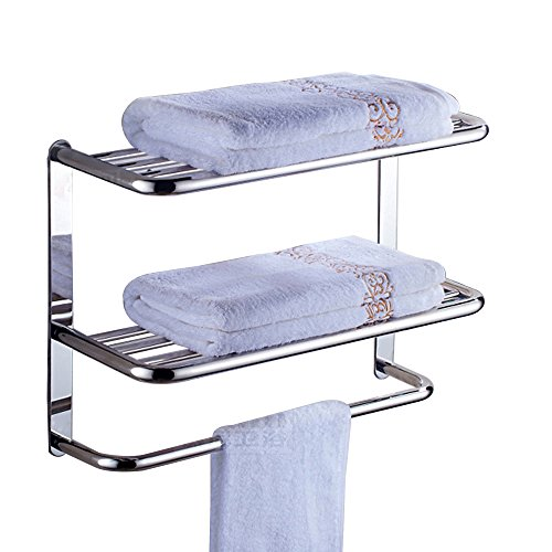 Bathroom Shelf 2-Tier Wall Mounting Rack with Towel Bars - Hotel Towel Rack