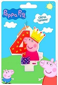 Amazon.com: Pastel Cupcake Topper vela 4 años Peppa Pig ...