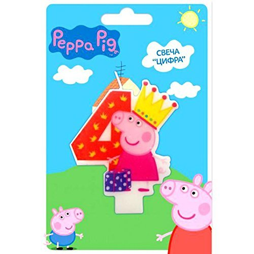 (Peppa_pig Cake Cupcake Topper Candle 4 Years Baking Dessert Decorations Happy Birthday Holiday Anniversary Jubilee Party Supply Must Have Accessories for Kids Baby Shower Celebration)