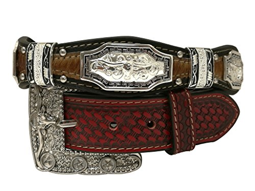 New Western Rhinestone Concho (New Mens Western Cowboy Cowgirl Silver Longhorn Texas Star Concho Shiny Cowhair Leather)