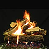 Myard 24'' inches Country SPLIT Style Complete Fire Gas Logs Set with HEARTH KIT for Vented Gas Fireplace