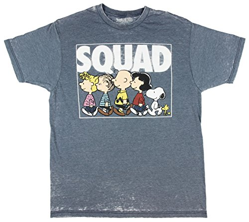 Peanuts Charlie Brown Snoopy Squad Men's Comic Graphic Burnout Tee Medium]()