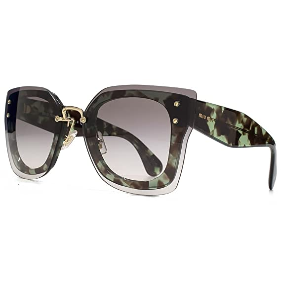 51caaa56dd MIU MIU Reverse Lens Butterfly Sunglasses in Green Havana MU 04RS UAG0A7 67  67 Gradient Grey  Amazon.co.uk  Clothing