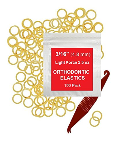 3/16 inch Orthodontic Elastic Rubber Bands 100 Pack Natural Light Force 2.5 oz Small Rubberbands Dreadlocks Dreads Doll Hair Bows Horse Mane Tail Fix Tooth Gap Top Knots FREE Elastic Placer for braces