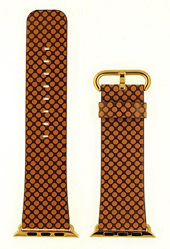 Gold Band Coffee (JSGJMY Apple Watch Band 38mm Genuine Leather Loop with Gold Metal Clasp for iWatch Series 2/Series 1/Edition/Sport(Light Coffee+Golden Buckle))