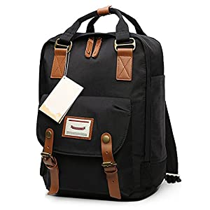 HaloVa Backpack, Unisex Laptop Bag Travel Rucksack, Small School Bag Daypack for School Working Hiking, Waterproof & Durable, Black