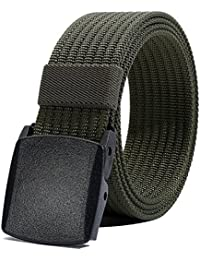 Men's Nylon Belt, Military Tactical Belts Breathable Webbing Canvas Belt with Plastic Buckle for Pants Size Below...