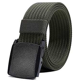 "Nylon Belt for Men, Military Tactical Belt with YKK Plastic Buckle, Durable Breathable Waist Belt for Work Outdoor Cycling Hiking Skiing,Adjustable for Pants Size Below 46inches[53""Long1.5""Wide] (Army Green)"