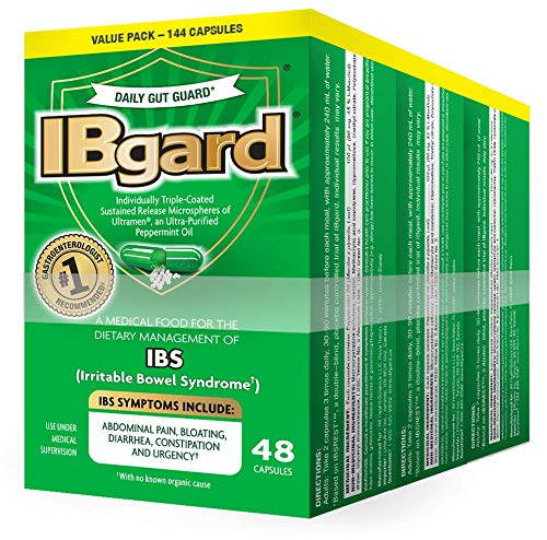 (IBgard® for Irritable Bowel Syndrome (IBS) Symptoms Including, Abdominal Pain, Bloating, Diarrhea, Constipation, 48 Capsules (3 Pack))