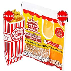 4 Ounce Popcorn Machine Popcorn Packets (24pcs) – 100 Paper Popcorn Bags and Prepackaged Popcorn Bundle – w/ 2 Cusinium Coasters, Ebook