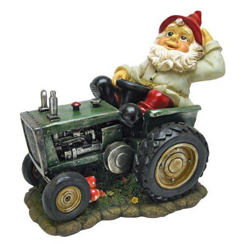 Gnome Sculpted Garden (Garden Gnome Statue - Plowing Pete Garden Gnome Tractor - Lawn Gnome)