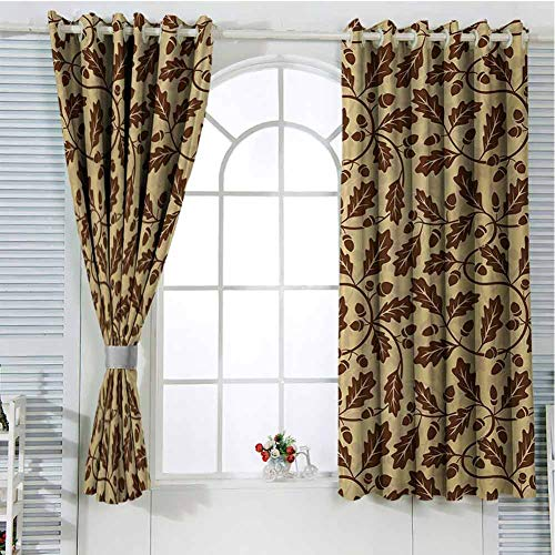 Yellow and Brown Patio Door Curtains for Bedroom Oak Leaf Acorn Tree Branch Growth Flourishing Nature Buds Mother Earth Print Thermal Insulated Noise Reducing W107 x L107 Inch Redwood (Patio External Oak Doors)