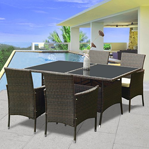 Tangkula 5 PCS Wicker Dining Set Outdoor Patio Rattan Furniture Table and Chairs Set