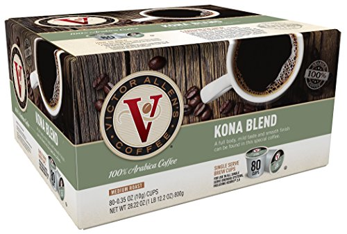 Floral 2 Cup - Victor Allen Coffee, Kona Blend Single Serve K-cup, 80 Count (Compatible with 2.0 Keurig Brewers)