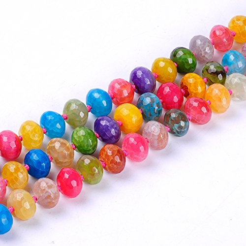 Ruilong Faceted Round Oval Abacus Waterdrop Round Flat Rectangle Shape Crack Stripe Natural Stone Agate Multicolor Wholesale (Faceted Abacus)
