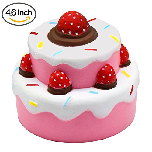 Squishy Toys by Gyoby - Super Soft Jumbo squishies Slow Rising Strawberry cake Anti Stress Fidget - Stress Reliever Squeeze - Soft and cute Squishies Toy - squishy kawaii - For kids and adults