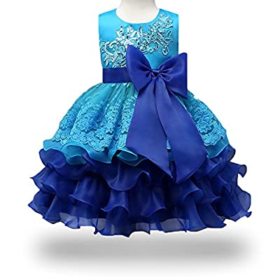 ONECEMORE 2-8T Princess Girl Pageant Party Tulle Lace Dress with Sleeveless
