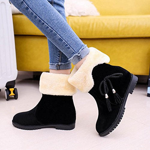 Kaicran Mujeres Botas De Invierno Para Mujer Botines Para Mujer Pisos Zapatos De Nieve Botines Negros